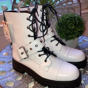 ZARA WHITE LEATHER COMBAT STYLE ANKLE BOOTS